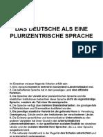 Das Deutsche Als Eine Plurizentrische Sprache