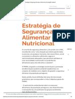 Estratégia de Segurança Alimentar e Nutricional