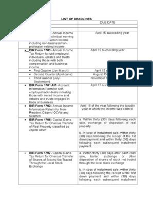 List of Deadlines | Withholding Tax | Tax Return (United States)