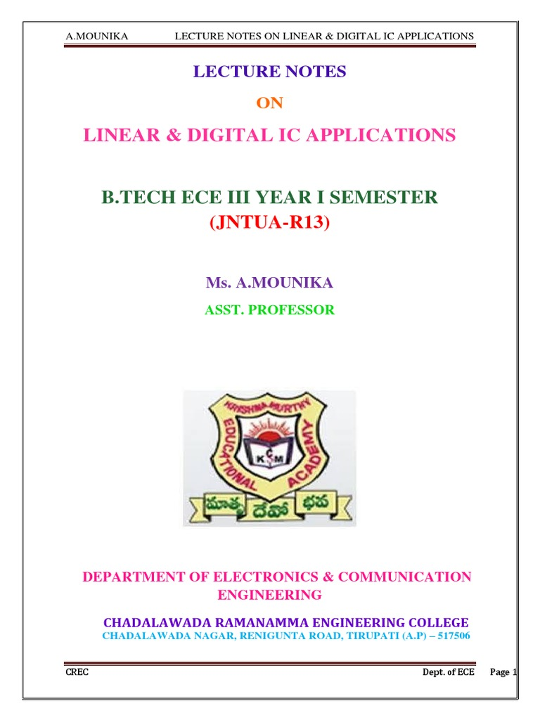 Lica Lecture Notes By Amounika Operational Amplifier National Lm555 Datasheet Replacement For Se555 Ne555 Series And The Connection Diagram