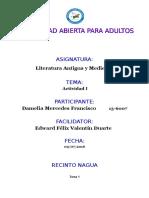 TAREA I  LITERATURA ANTIGUA Y MEDIAVAL DAMELIA MERCEDES.docx