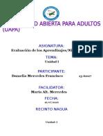 Tarea i Evaluacion de Los Aprendizaje Damelia Mercedes