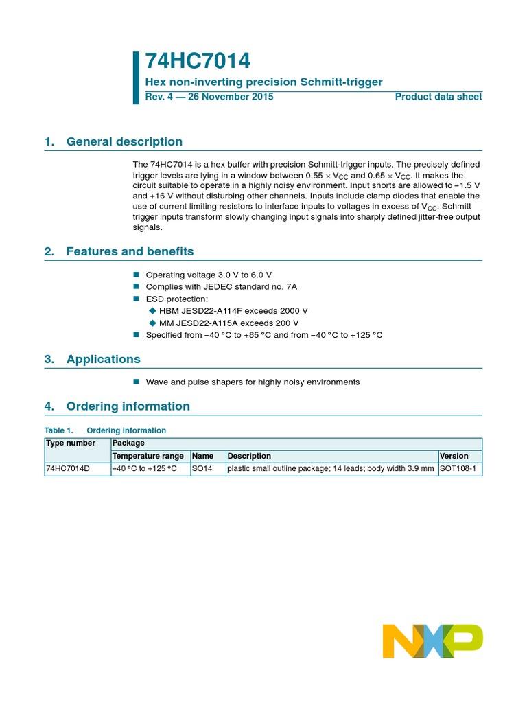 74hc7014 Electrical Engineering Electricity 4511 Datasheet