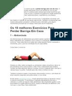 Os 10 Melhores Exercícios Para Perder Barriga Em Casa