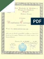 Título de Académico Correspondiente Honorífico al Profesor José F. Caro