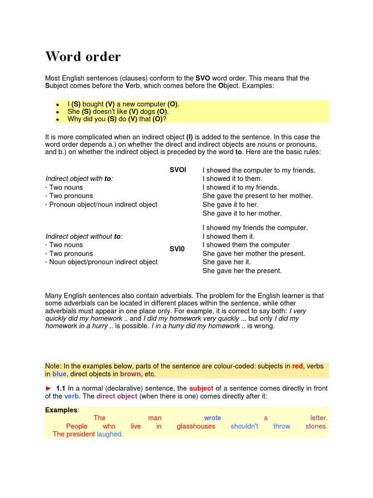 Sentence Basics - A Primer 2 0 | Adverb | Object (Grammar)