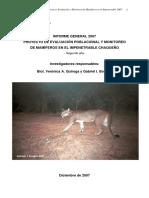 Monitoreo de mamiferos en  el impenetrable chaqueño