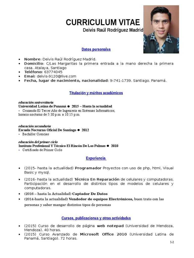 Modelo Ejemplo de Curriculum Vitae Tipo Informatica