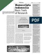 ISIM 2 Manuscripta Indonesica Basic Tools of Research