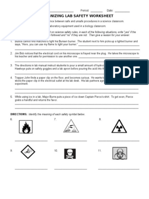 Lab Safety Worksheet