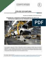 24-01-17 Escenario de la Industria automotriz en México de cara a las Propuestas Comerciales del Presidente Donald Trump