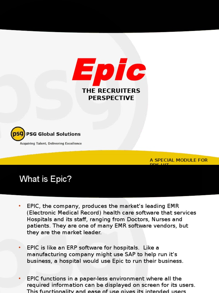 Epic Presentation Electronic Health Record Service Industries