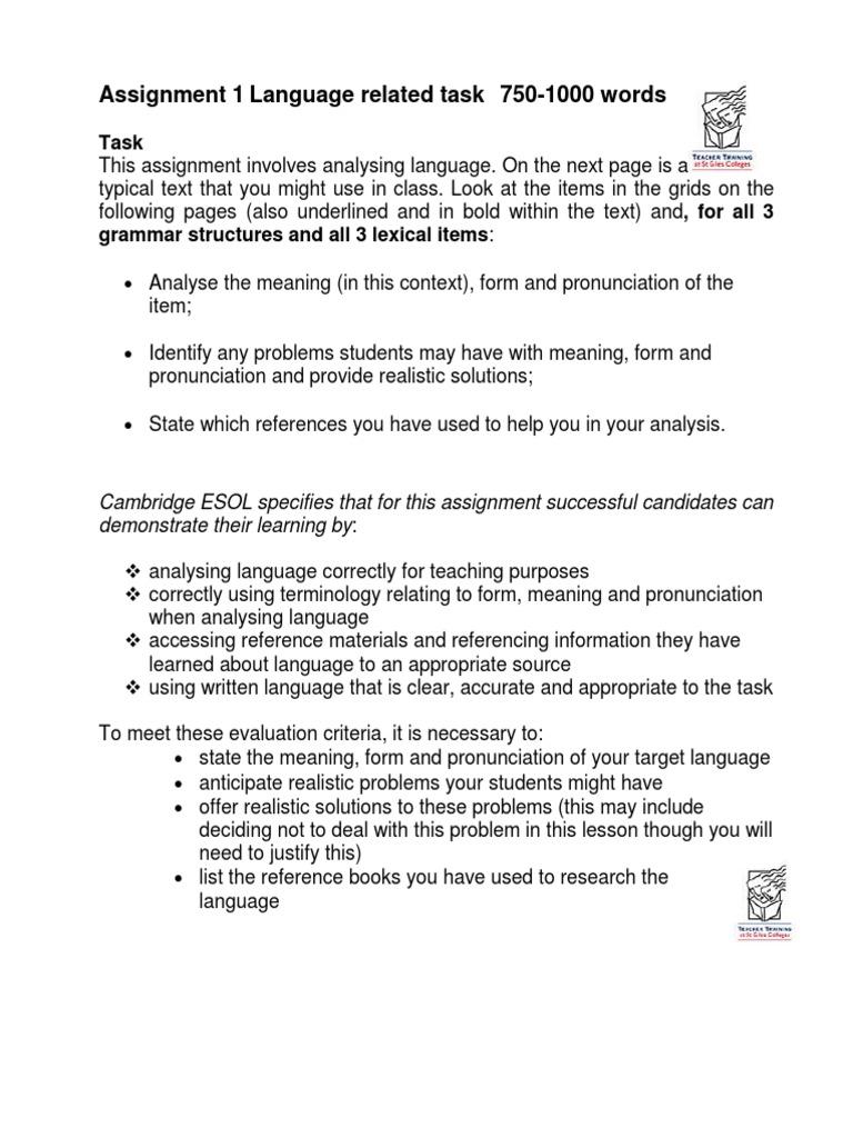 celta assignment 1 grammar essay example
