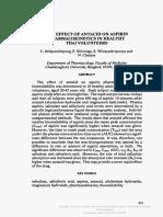 Drug Metabolism and Drug Interactions Volume 10 Issue 3 1992 [Doi 10.1515%2Fdmdi.1992.10.3.213] Itthipanichpong, C.; Sirivongs, P.; Wittayalertpunya, S.; Chaiyo -- The Effect of Antacid on Aspirin Pha