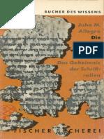 Allegro, John - Die Botschaft Vom Toten Meer - Das Geheimnis Der Schriftrollen (1957, 189 S., Text)