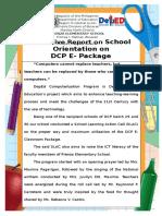 Narrative Report on School Orientation on DCP E