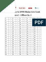 Answer Key to IPPB Mains Live Leak 2017 - Officer Sc. I