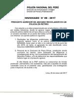 COMUNICADO PNP N° 08 - 2017
