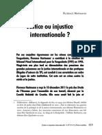 Justice Ou Injustice Internationale