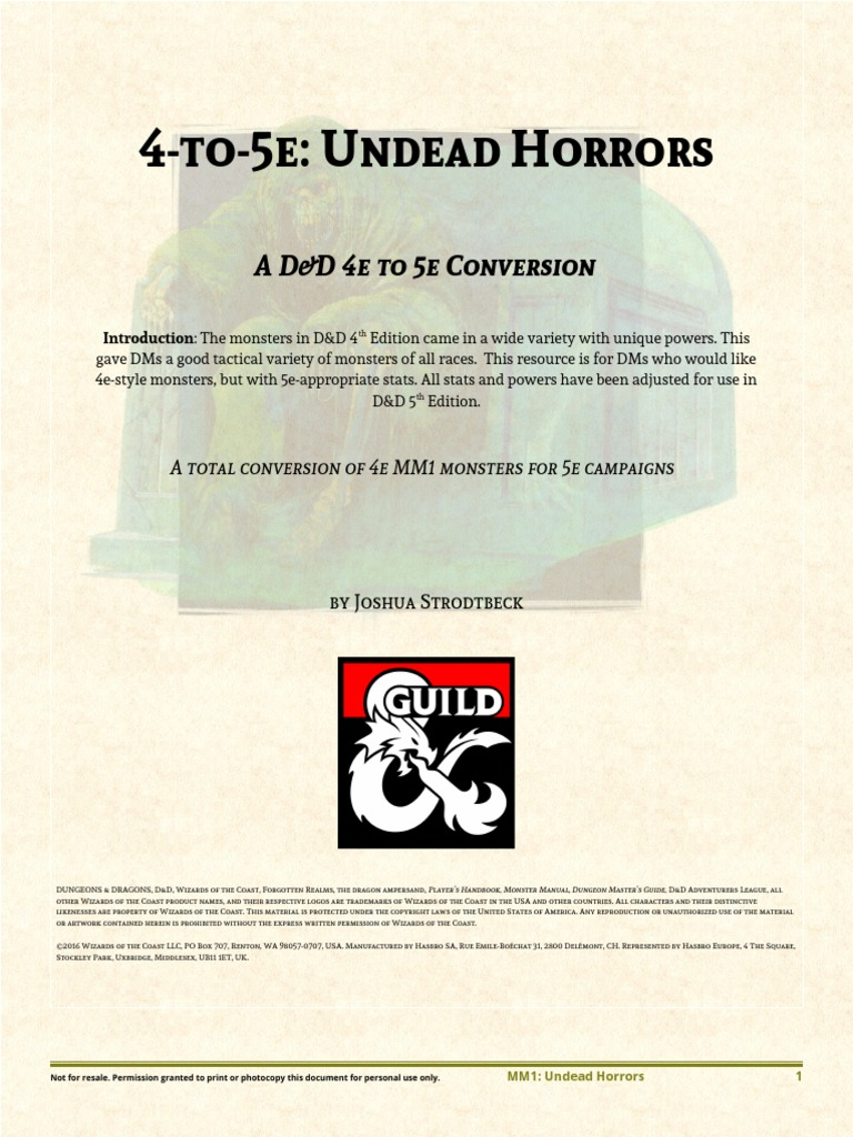 4e to 5e Undead Horrors | Dungeons & Dragons | Role Playing