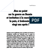 Mise Au Point Sur La Guerre en Bosnie
