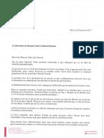 Lettre Cambadelis à Valls et Hamon