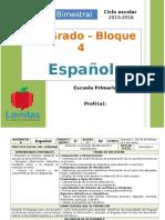 Plan 3er Grado - Bloque 4 Español (2015-2016)