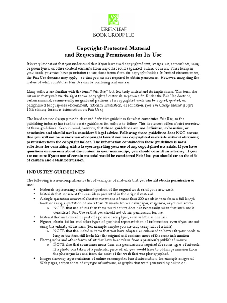 Permission Guidelines Copyright Fair Use