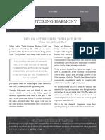 Restoring Harmony News Brief