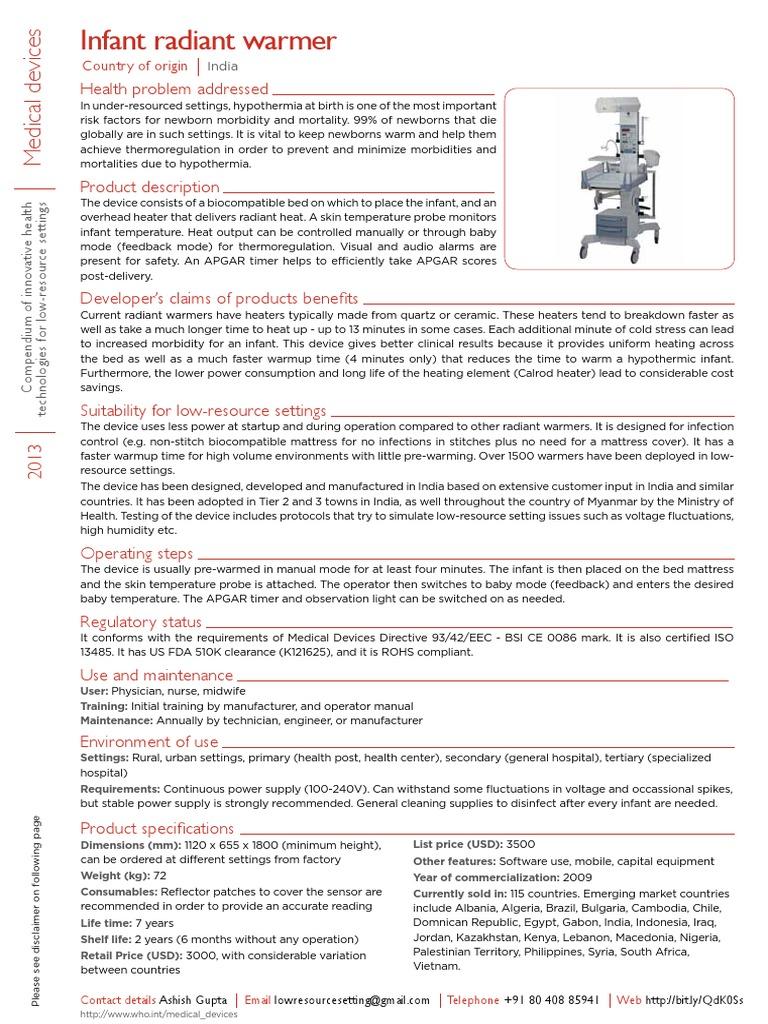 Infant Radiant Warmer | Hypothermia | Infants