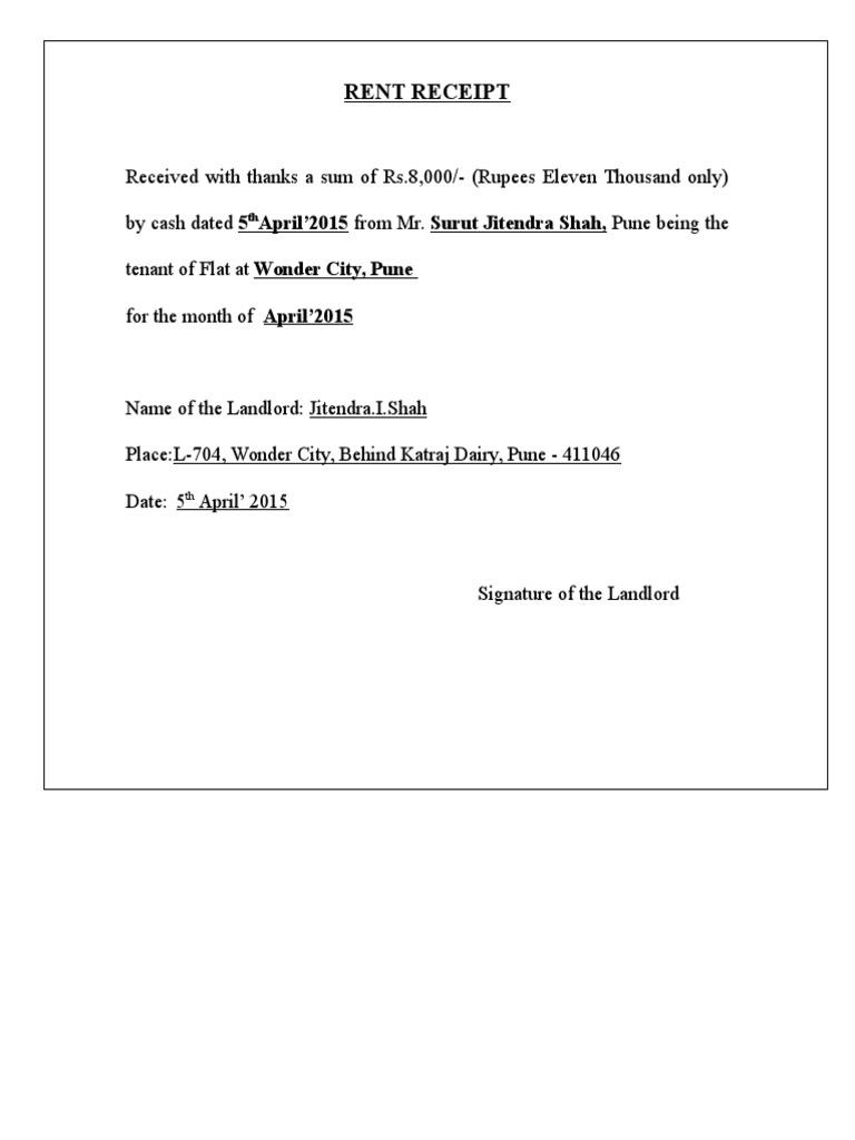 Rent Receipt Landlord Civil Law Legal System