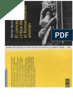 Benjamin, Walter. El Concepto de Critica de Arte en El Romanticismo Alemán, Península