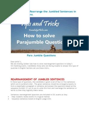 Solve Parajumbles Jumbled Sentences Questions