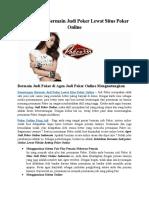 Keuntungan Bermain Judi Poker Lewat Situs Poker Online
