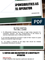 PRESENTATION 3 Your Responsibilities as Hotel Operator