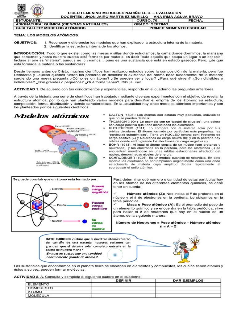 Bonito Estructura Atómica Hoja De Trabajo Responde A La QuÃmica ...