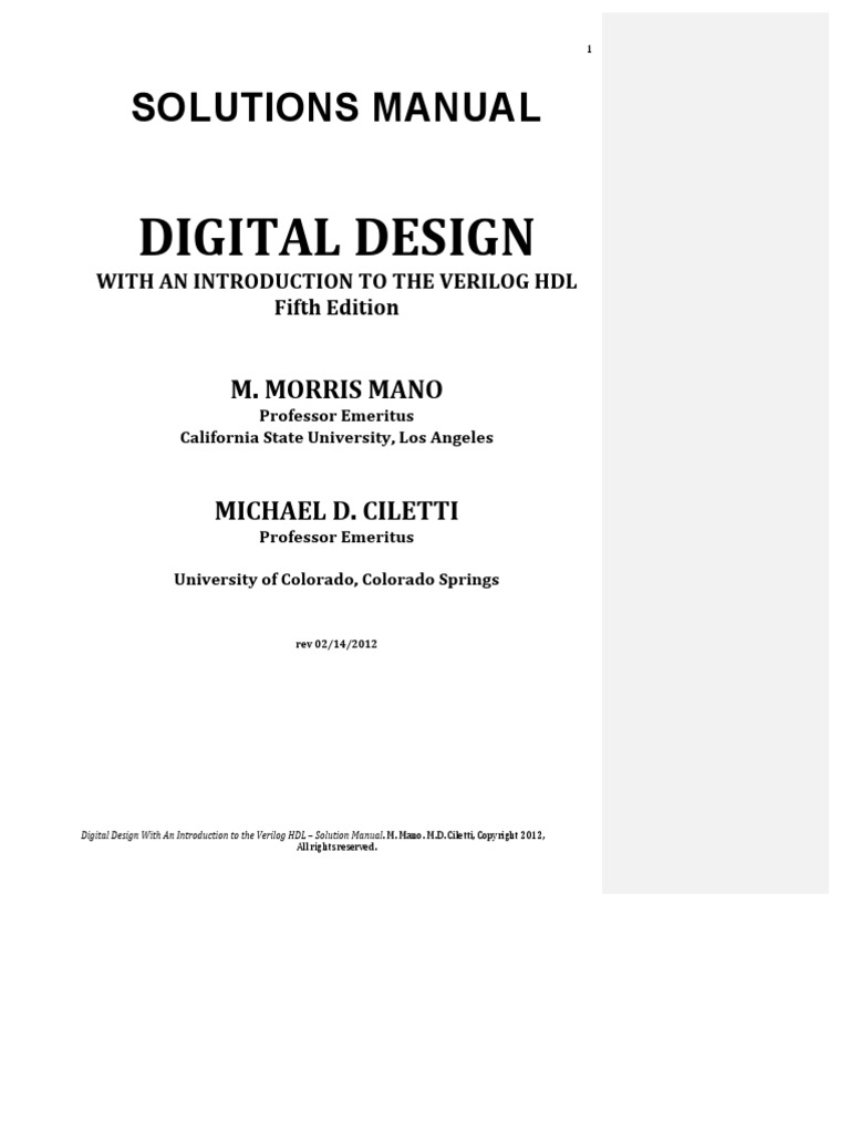 Digital design 5th edition mano solution manualpdf fandeluxe Images