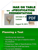 Seminar on Table of Specs (TOS)