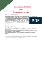 Créer Un Serveur de Fichiers Sous Windows 2003