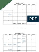 calendar 2017 blank