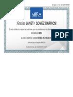Certificado Elección Delegados MIRA 2016 - JANETH