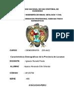 Características Demográficas de La Provincia de Lucanas