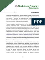 Unidad 1.Metabolismo Primario y Secundario
