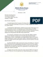 Sen. Dianne Feinstein's Letter to UC President Janet Napolitano Regarding UCSF Layoffs