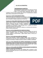 As Leis Da Apometria - (Livro Algumas Notas Sobre a Apometria)