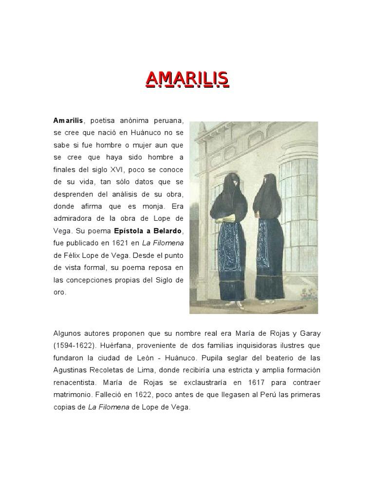 Biografia De Amarilis Y Su Obra