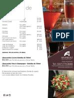 Menús Listado Bebidas Bodas Aranjuez Hotel Suites