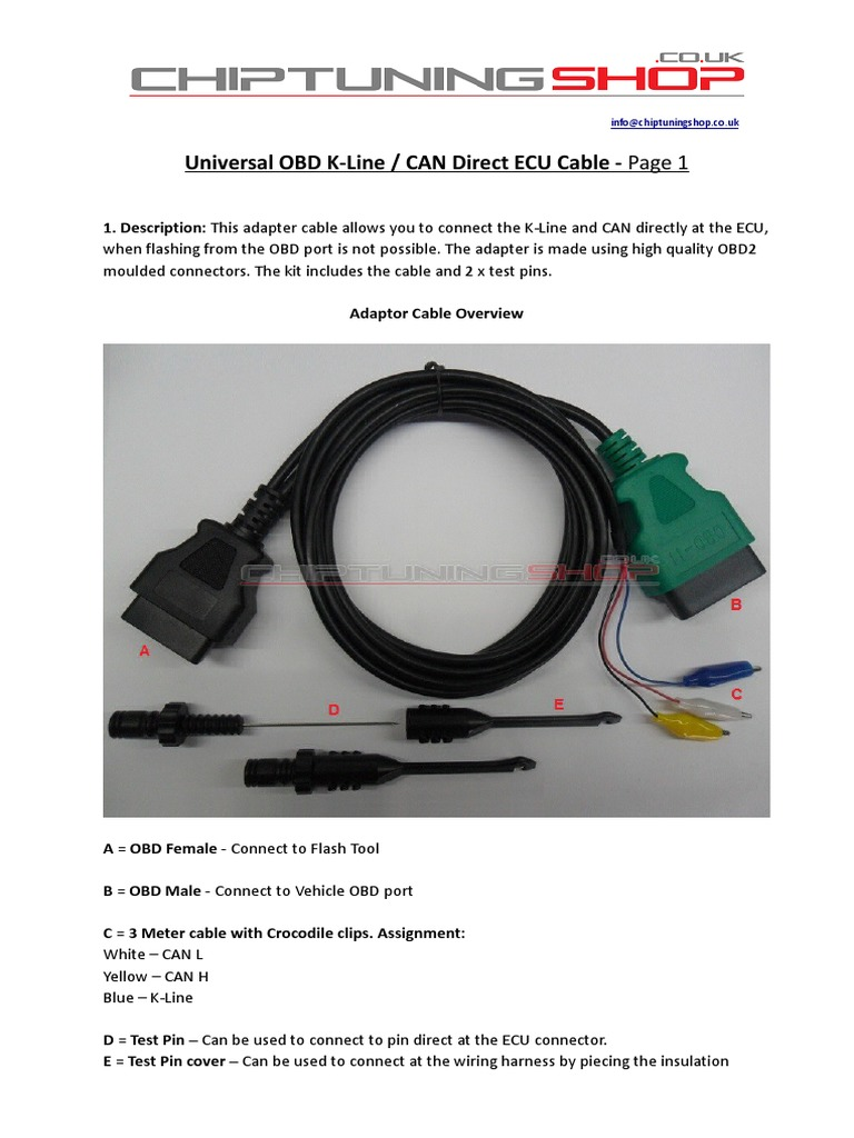 Cts Obd K Line Can Direct Ecu Cable Manual Wire Harness Clips