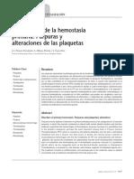 Alteraciones de La Hemostasia Primaria. Púrpuras y Alteraciones de Las Plaquetas