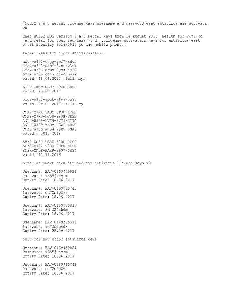 Nod32 9 & 8 Serial License Keys Username and Password Eset Antivirus